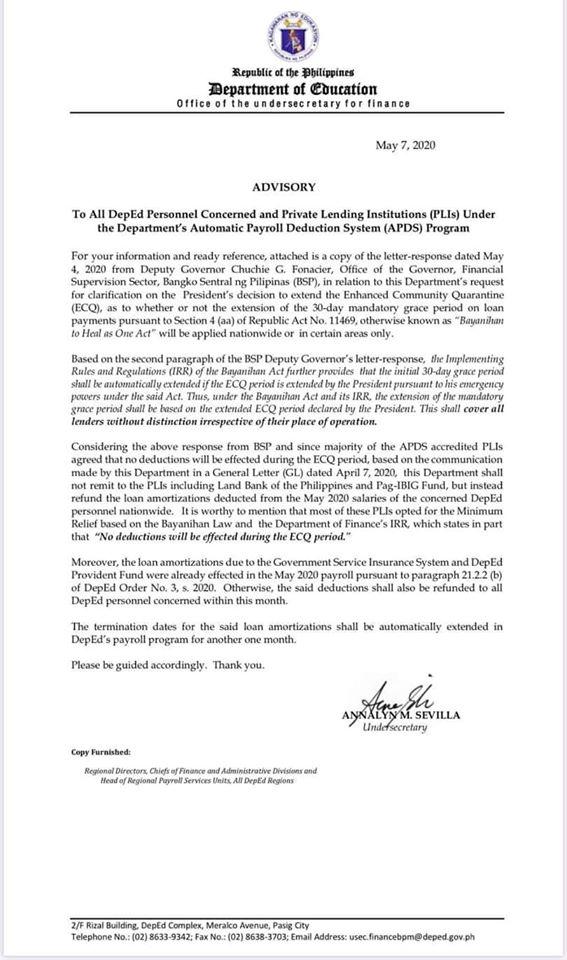 loan moratorium refund may 2020